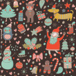 Cartoon Christmas seamless pattern for winter holidays ornaments - Stok Vektör