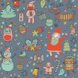 Cartoon Christmas seamless pattern for winter holidays ornaments - Stok Vektr