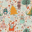The texture of the Christmas trees and cute cartoon characters. New year seamless pattern.winter design. — Stock Vector