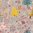The texture of the Christmas trees and cute cartoon characters. New year seamless pattern.winter design. — Stok Vektör