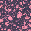 Cute romantic background in vector. Seamless pattern with lovers, birds, rabbits, ship and other romantic elements. Can be used for wallpaper, pattern fills, web page backgrounds, surface textures. - Grafika wektorowa