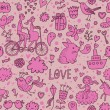 Cute romantic background in vector. Seamless pattern with lovers, birds, rabbits, ship and other romantic elements. Can be used for wallpaper, pattern fills, web page backgrounds, surface textures. - Stok Vektör