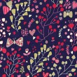 Spring wallpaper. Floral cartoon seamless pattern. Romantic nature illustration — Stockvectorbeeld
