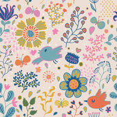 Cute floral seamless pattern with birds and insects — Stok Vektör