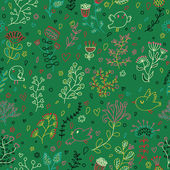 Green colored floral seamless pattern. Vector wallpaper with birds and flowers. Seamless pattern can be used for wallpapers, pattern fills, web page backgrounds, surface textures. — Stock Vector