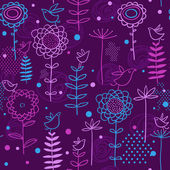 Birds in flowers - abstract seamless pattern in vector — Stock Vector