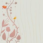 スタイリッシュな花の背景ベクトルで鳥 — ストックベクタ