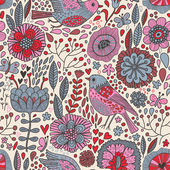 Retro floral seamless pattern — Stock Vector