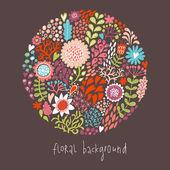 Ornamental redondo padrão floral, fundo do círculo com detalhes bonitos. forma redonda feita de beirais e flores diferentes. fundo de verão. contornos de verão brilhante feitos de flores. — Vetor de Stock