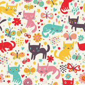 Funny cats. Cartoon seamless pattern for children background. Colorful wallpaper with cats, butterflies and flowers — Stock Vector