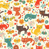 Funny cats. Cartoon seamless pattern for children background. Colorful wallpaper with cats, butterflies and flowers — Stockvector