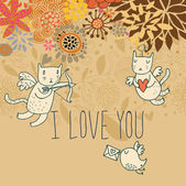 Cartoon romantic background with funny cats-cupids — Stok Vektör