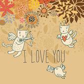 Cartoon romantisk bakgrund med roliga katter-cupids — Stockvektor