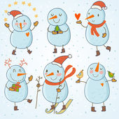 Cartoon snowmen - vector set — Stock Vector