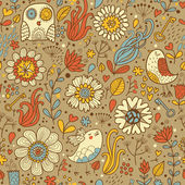 Vintage seamless pattern with birds and flowers — Vector de stock