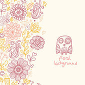 Floral background with cute owl in red and yellow colors — Stock Vector