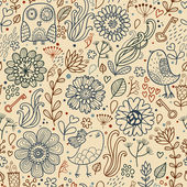 Vintage seamless pattern with birds and flowers — Vetorial Stock