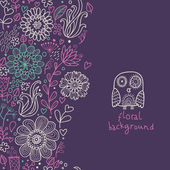 Floral background with cute owl in violet colors — Stock Vector