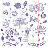 Funny insects - cute doodle set scrapbook page — Stock Vector