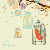 Sweet floral background with bird cage — Stock Vector