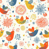 Retro spring floral seamless pattern — Stock Vector