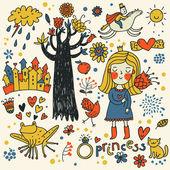 Cute princess doodle set in color — Stock Vector