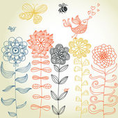 Stylish romantic floral design element with birds and flowers — Vector de stock