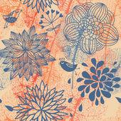 Streszczenie kwiatowy wzór z ptaki kreskówki — Wektor stockowy