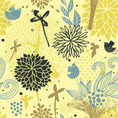 Patrón floral inconsútil con los pájaros — Vector de stock