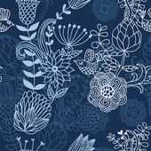 Floral cartoon seamless pattern in blue colors — Stock Vector