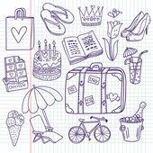 Doodle travel vector set — Stock Vector