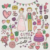 Cute wedding set. Romantic cartoon vector set. — Stock Vector