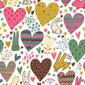 Cute love bunnies pattern with hearts — Vecteur