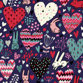 Cute love bunnies pattern with hearts — Stock Vector
