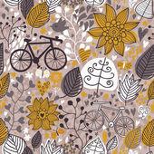 Gestileerde naadloze bloemmotief met fietsen — Stockvector