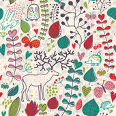 Vintage forest seamless pattern with flowers, deer, owl and hedgehog — 图库矢量图片
