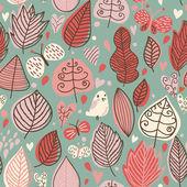 鳥と蝶の秋のシームレスな花柄 — ストックベクタ