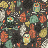 Vintage floral seamless pattern with owls — Vector de stock