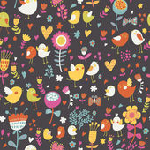 яркие цветочные мультфильм бесшовный фон в приятных тонах. милые птицы в цветах — Cтоковый вектор