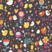 Helle floral cartoon nahtlose muster in schönen farben. niedliche vögel in blumen — Stockvektor