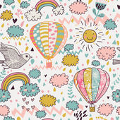 Cartoon seamless pattern with nasty weather in children style. Vector background for kids in pastel colors — Stok Vektör
