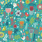 红色彩色无缝模式与可爱的鸟类和鲜花。无缝模式可以用于壁纸、 图案填充、 web 页面背景,表面纹理. — 图库矢量图片