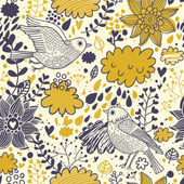 Bright summer seamless pattern with birds, flowers and clouds. Seamless pattern can be used for wallpapers, pattern fills, web page backgrounds, surface textures. — Stockvektor