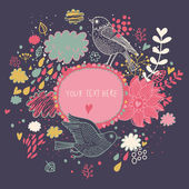 Nice background in autumn colors with vintage birds. Vector frame with place for text. Valentine's day card — Vettoriale Stock
