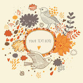 Nice background in autumn colors with vintage birds. Vector frame with place for text. Valentine's day card — Vector de stock