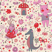 Funny cartoon animals in vector. Cute seamless pattern for children's wallpapers in pink colors — Stock Vector