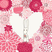 Romantic floral background with cute rabbit in cartoon style — Stok Vektör