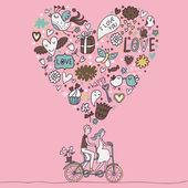 Concetto di amore per tutte le idee romantiche — Vettoriale Stock