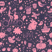 Cute romantic background in vector. Seamless pattern with lovers, birds, rabbits, ship and other romantic elements. Can be used for wallpaper, pattern fills, web page backgrounds, surface textures. — Vetor de Stock