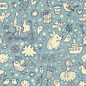 Cute romantic background in vector. Seamless pattern with lovers, birds, rabbits, ship and other romantic elements. Can be used for wallpaper, pattern fills, web page backgrounds, surface textures. — Vector de stock